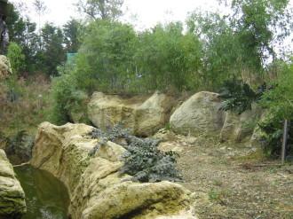 création d'un décor de  jardin en rochers   béton sculpté