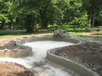 Bassin en béton sculpté, bassins, imitation bois, imitation pierre