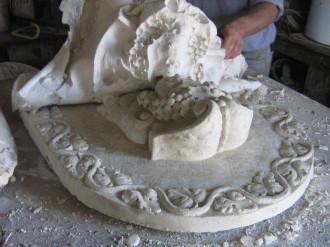 dallage sculpté initiation, fausse pierre, Fontaine en pierre